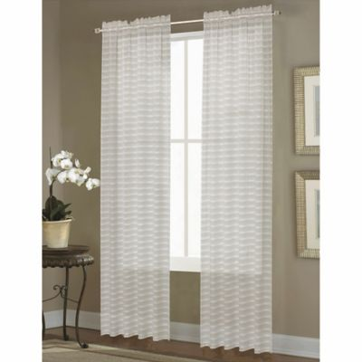 Dover Sheer 108-Inch Rod Pocket Window Curtain Panel in Natural