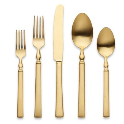 Herdmar® Celta 5-Piece Flatware Place Setting in Stainless Steel/Matte Gold