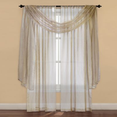 Strive Sheer Window Scarf Valance in Gold