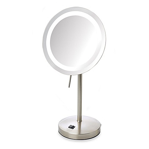 Buy Jerdon 8X LED Lighted Vanity Mirror in Nickel from Bed ...