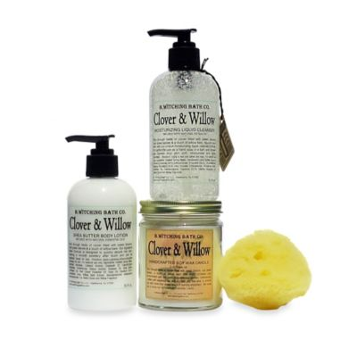 B. Witching Bath Co. Clover and Willow Lotion, Liquid Cleanser, and Candle Gift Set