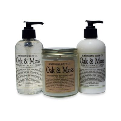 B. Witching Bath Co. Oak and Moss Body Lotion, Liquid Cleanser, and Candle Gift Set