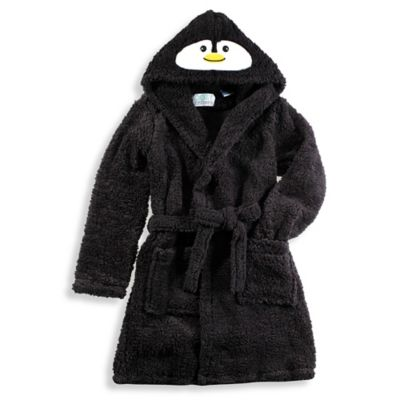 Penguin Hooded Critter Robe in Black