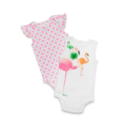 Baby Starters® 2-Pack Flutter Sleeve Floral/Flamingo Bodysuits in Pink/White