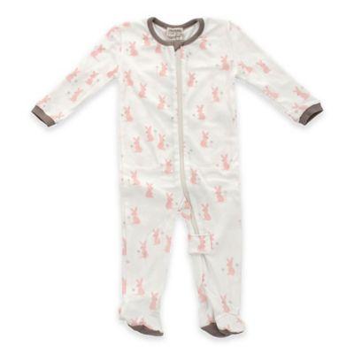 Silkberry Baby™ Size 3-6M Zip-Front Organic Cotton Bunnies Footie in Pink