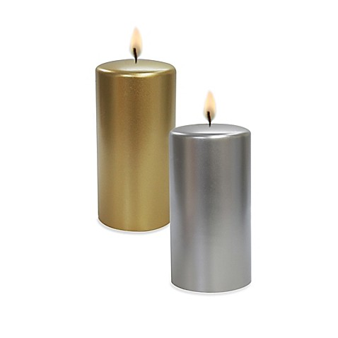 Metallic pillar candle bed bath beyond for Shimmer pillar candle