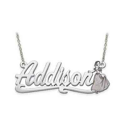 Disney® Sterling Silver 18-Inch Chain Snow White Nameplate Pendant Necklace