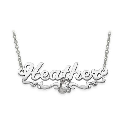Disney® Sterling Silver 18-Inch Chain Belle Silhouette Nameplate Pendant Necklace