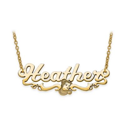 Disney® 14K Yellow Gold 18-Inch Chain Belle Silhouette Nameplate Pendant Necklace