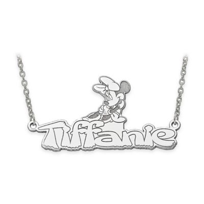 Disney® 14K White Gold 18-Inch Minnie Mouse Nameplate Necklace