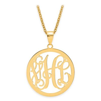 10K White Gold Laser-Cut Script Letters 18-Inch Chain Circle Pendant Necklace