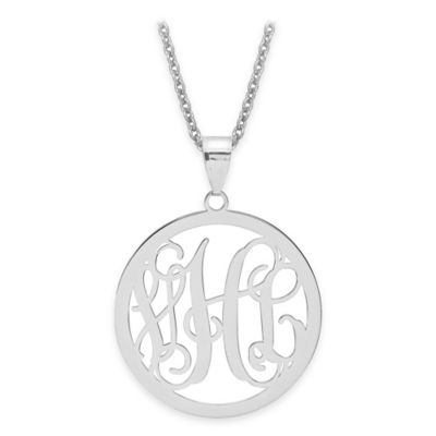 14K Yellow Gold Laser-Cut Script Letters 18-Inch Chain Circle Pendant Necklace