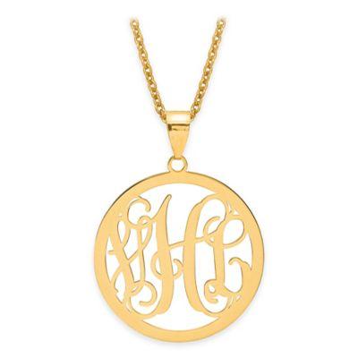 14K Yellow Gold Laser-Cut Script Letters 18-Inch Chain Circle Pendant Necklace