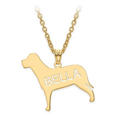 Gold-Plated Sterling Silver Laser-Cut Block Letters 18-Inch Chain Polished Dog Pendant Necklace