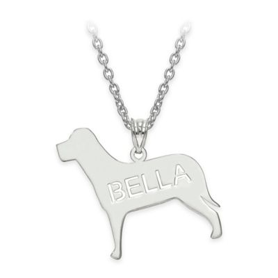 14K Yellow Gold Laser-Cut Block Letters 18-Inch Chain Polished Dog Pendant Necklace