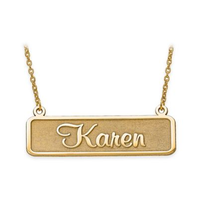10K Yellow Gold 18-Inch Chain Satin Finish Nameplate Necklace