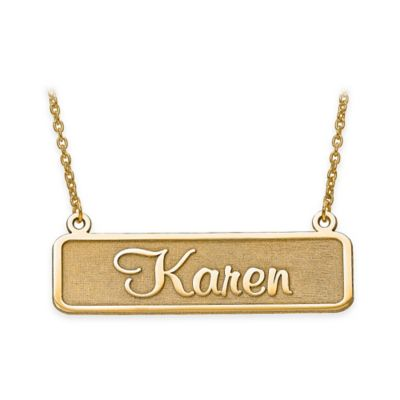 14K Yellow Gold 18-Inch Chain Satin Finish Nameplate Necklace