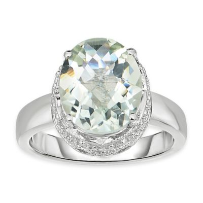 Sterling Silver Oval Checkerboard Cut Green Amethyst Size 5 Ladies' Ring