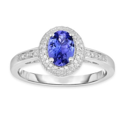 Sterling Silver .70 cttw Diamond and Oval Tanzanite Size 6 Ring