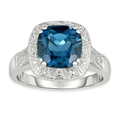Sterling Silver 3.5 cttw Diamond and Cushion-Cut Light Blue Topaz Size 6 Ladies' Ring