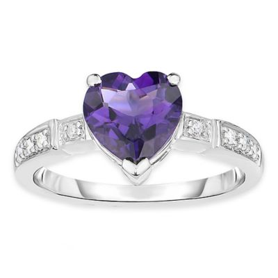 10K White Gold 1.5 cttw Diamond and Heart-Shaped Amethyst Size 9 Ladies' Ring