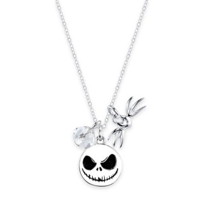 Disney® Sterling Silver Jack Skellington 3-Piece Charm 18-Inch Chain Pendant Necklace