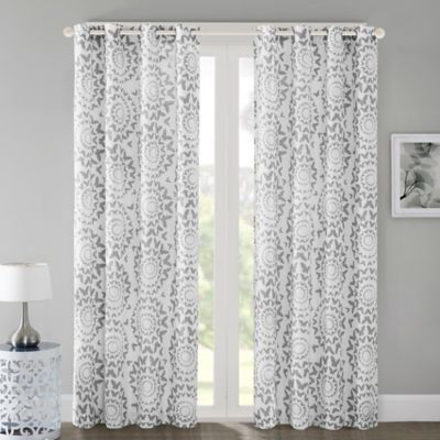 Regency Heights Mariposa 63-Inch Grommet Top Window Curtain Panel in Grey