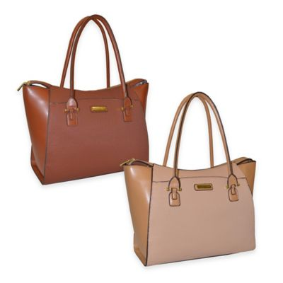 Adrienne Vittadini East West Fashion Weave Business Tote in Cognac
