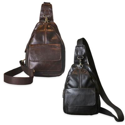 Journey Collection Amsterdam Satchel Leather Cross Body Bag in Black
