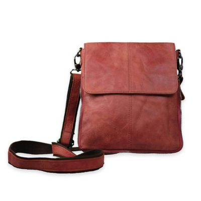Journey Collection Pompeii Leather Expandable Cross Body Bag in Burgundy