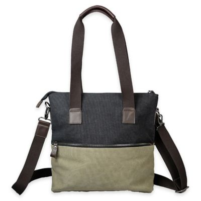 Journey Collection Inverness Canvas Shoulder Bag in Olive/Black