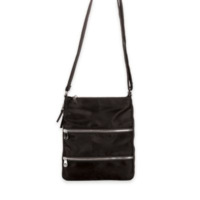 Sacs Collection Triple Zip Expandable Cross Body Bag in Black