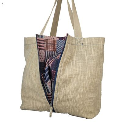 Journey Collection Greenwich Expandable Tote with Hidden Flag Pattern in Tan