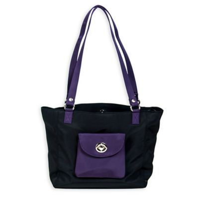 Sacs Collection Tote with Detachable Sidekick Chain Purse in Black/Eggplant
