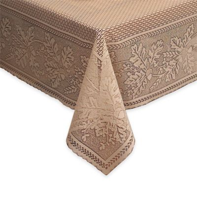 Heritage Lace® Oak Leaf 70-Inch x 90-Inch Lace Tablecloth in Cafe