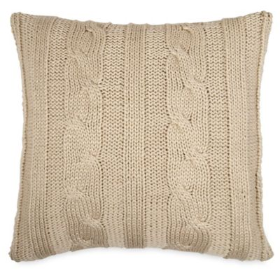 Chunky Knit Sweater Square Throw Pillow in Natural