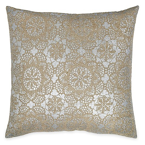 Throw Pillows With Lace : Buy Metallic Lace Square Throw Pillow in Taupe from Bed Bath & Beyond