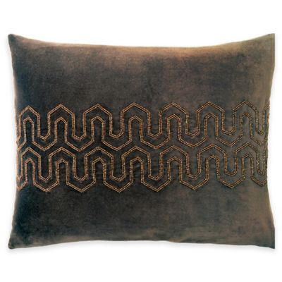 Beaded Velvet Oblong Throw Pillow in Brown