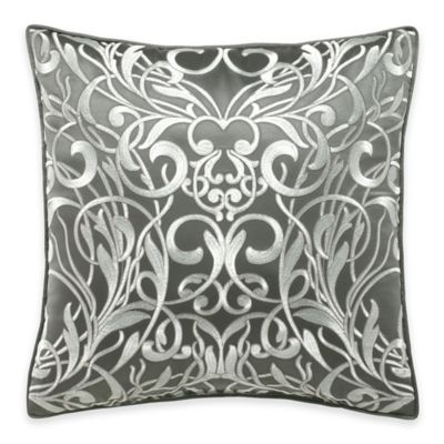 Manor Hill® Casablanca Embroidered Scroll Square Throw Pillow in Grey/White