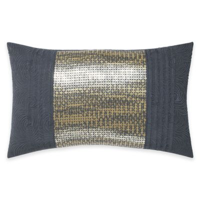 Manor Hill® Ripple Sequins and Pleats Oblong Throw Pillow in Ink Blue