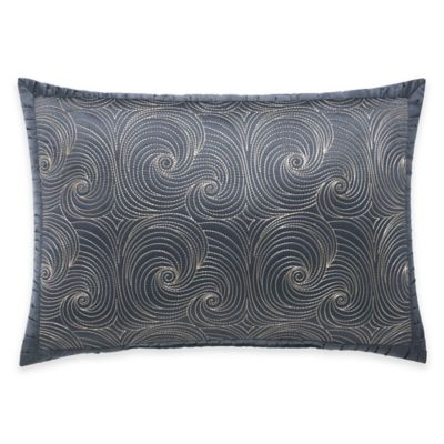 Manor Hill® Ripple Quilted Swirl Oblong Throw Pillow in Ink Blue