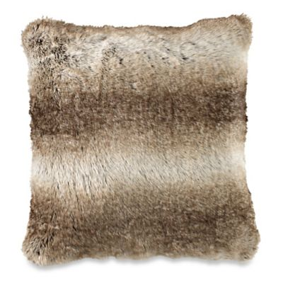 Faux Fur Square Throw Pillow in Brown
