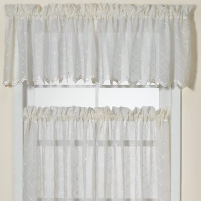 Diamante Kitchen Window Valance in Ivory