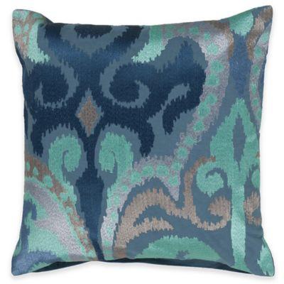 Surya Krasavino 22-Inch Ikat Throw Pillow in Sky Blue