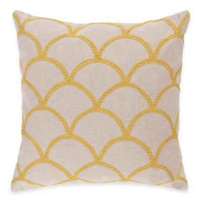 Surya Asti 18-Inch Embroidered Yellow Scale Square Throw Pillow in Ivory