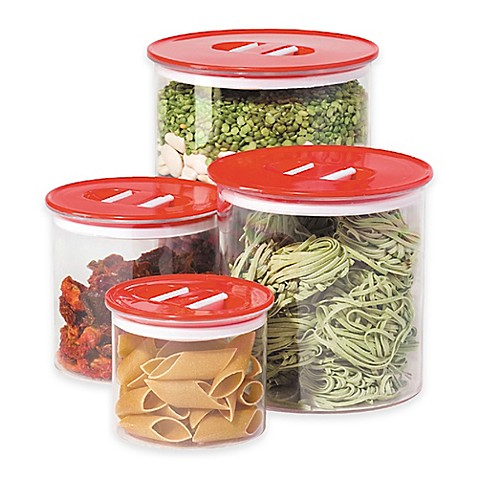 oggi 4 piece round stack n store canister set www oggi ribbed glass 4 piece canister set in green bed