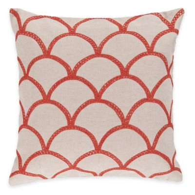 Surya Asti 22-Inch Embroidered Coral Scale Square Throw Pillow in Ivory