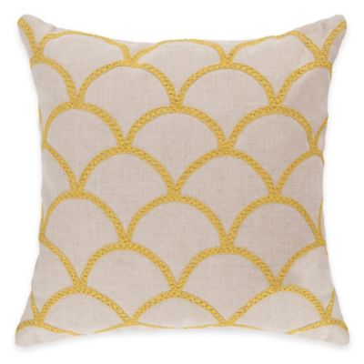 Surya Asti 22-Inch Embroidered Yellow Scale Square Throw Pillow in Ivory