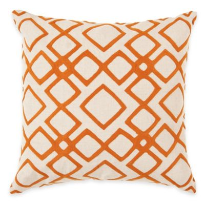 Surya Avellino 22-Inch Embroidered Geometric Square Throw Pillow in Orange