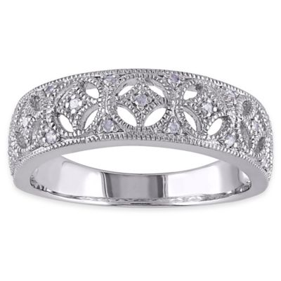Sterling Silver .10 cttw Diamond Open Detail Size 6 Ladies' Ring